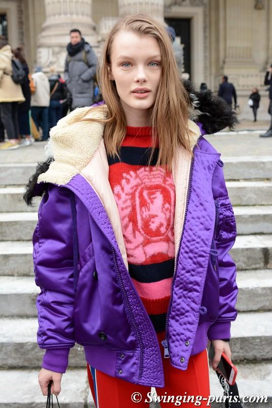 "Kris Grikaite (Кристина ""Крис"" Грикайте) outside Paco Rabanne show, Paris F/W 2018 RtW Fashion Week, March 2018"