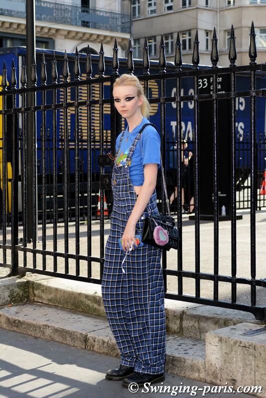Lily Nova outside Fendi show, Paris F/W 2018 Haute Couture Fashion Week, July 2018