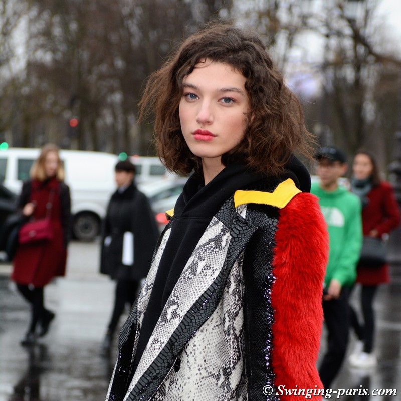 McKenna Hellam outside Chanel show, Paris Haute Couture SS 2018 Fashion Week, January 2018