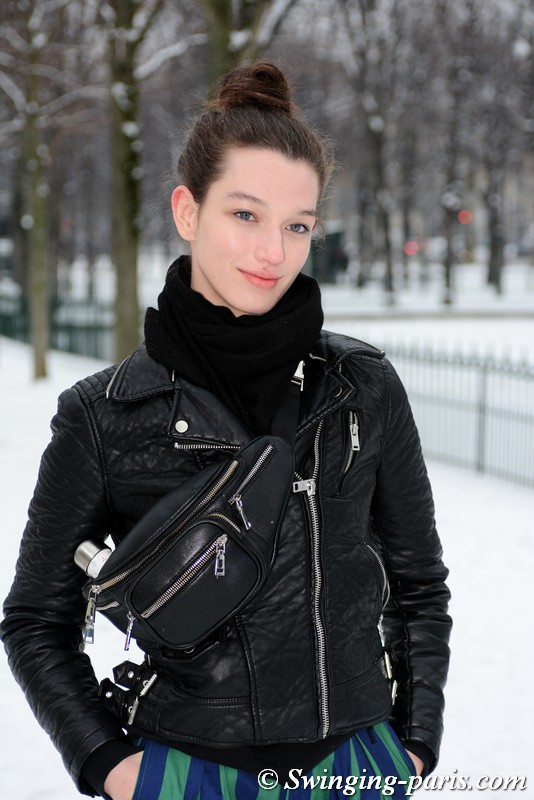 McKenna Hellam outside Chanel show, Paris Haute Couture SS 2019 Fashion Week, January 2019