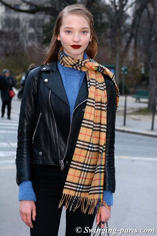 Milena Ioanna outside Rochas show, Paris F/W 2018 RtW Fashion Week, February 2018