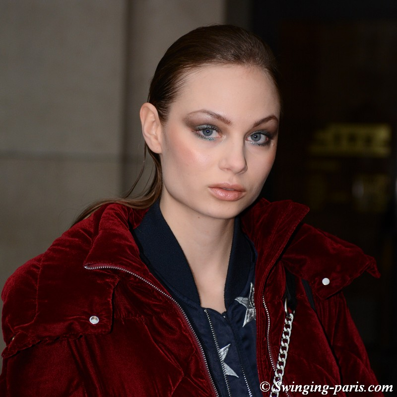 Miranda Nyström leaving Elie Saab show, Paris Haute Couture SS 2019 Fashion Week, January 2019