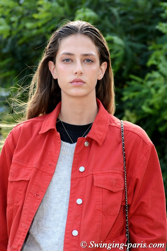 Nora Vara leaving Léonard show, Paris S/S 2019 RtW Fashion Week, October 2018
