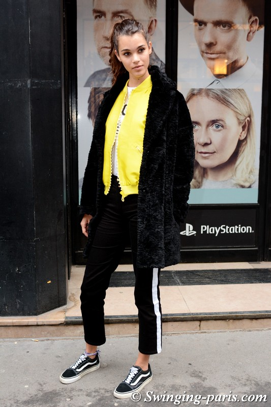 Pauline Hoarau leaving Alexis Mabille show, Paris Haute Couture SS 2018 Fashion Week, January 2018