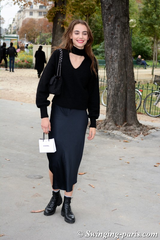 Romy Schönberger outside Chanel show, Paris S/S 2019 RtW Fashion Week, October 2018