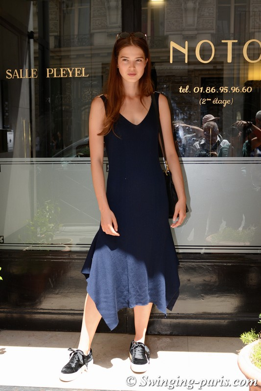 Sara Witt leaving Alexis Mabille show, Paris F/W 2018 Haute Couture Fashion Week, July 2018