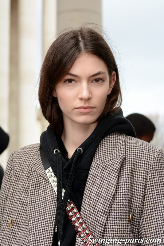 Alberte Mortensen leaving Sacai show, Paris FW 2019 RtW Fashion Week, March 2019