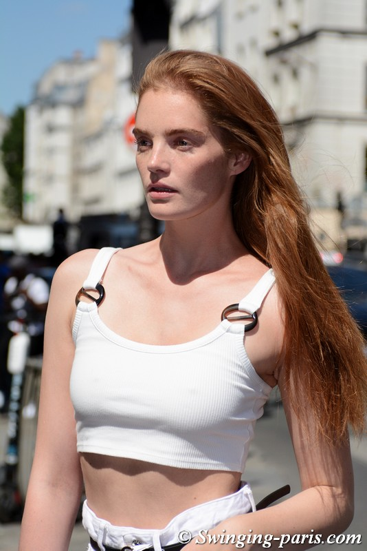 Alexina Graham leaving Jean Paul Gaultier show, Paris F/W 2019 Haute Couture Fashion Week, July 2019