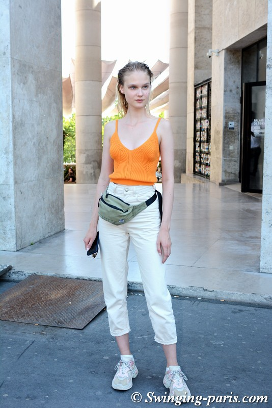 Alina Egorova (Алина Егорова) outside Célia Kritharioti show, Paris F/W 2019 Haute Couture Fashion Week, July 2019