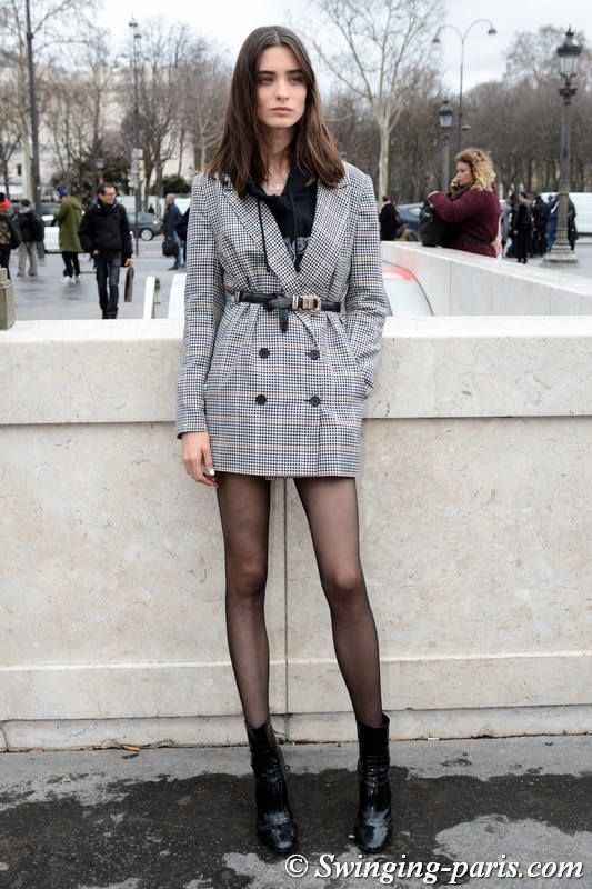 Carolina Thaler leaving Chanel show, Paris FW 2019 RtW Fashion Week, March 2019