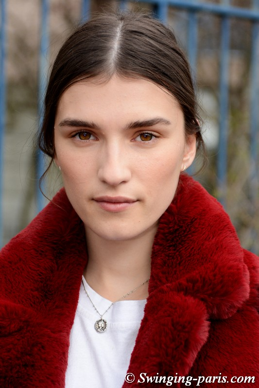Irina Djuranovic leaving Balmain show, Paris FW 2019 RtW Fashion Week, March 2019