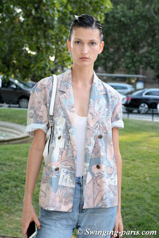 Kely Ferr leaving Armani Privé show, Paris F/W 2019 Haute Couture Fashion Week, July 2019