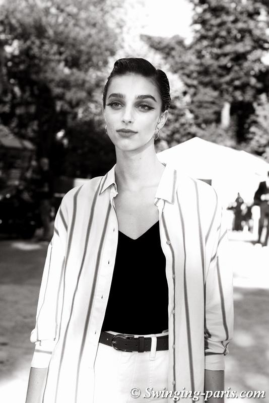 Larissa Marchiori leaving Armani Privé show, Paris F/W 2019 Haute Couture Fashion Week, July 2019