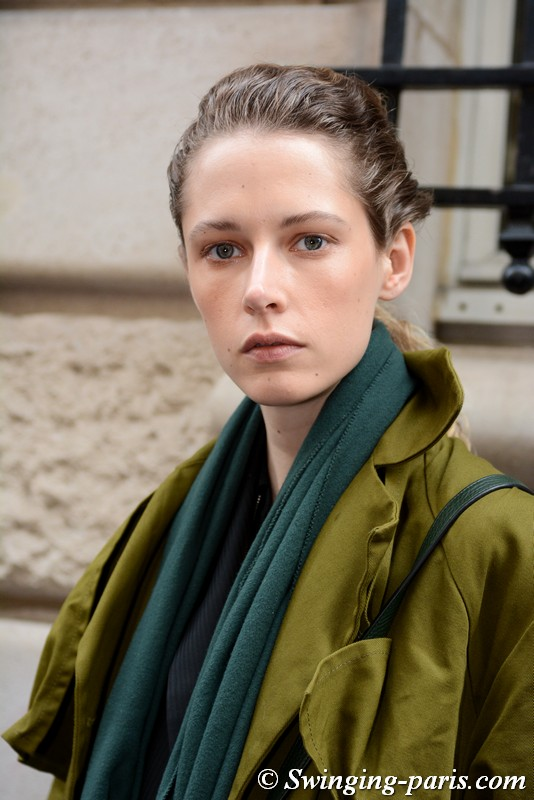 Maria Zakrzewska leaving Kristina Fidelskaya show, Paris FW 2019 RtW Fashion Week, March 2019