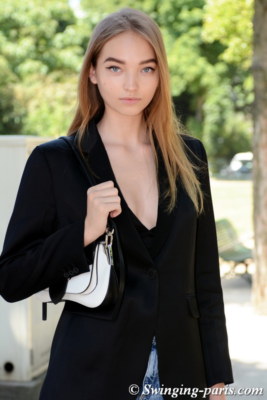 Milena Ioanna outside Chanel show, Paris F/W 2019 Haute Couture Fashion Week, July 2019