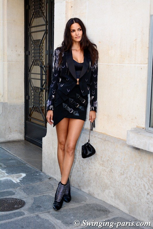 Sofia Resing outside Zuhair Murad show, Paris F/W 2019 Haute Couture Fashion Week, July 2019