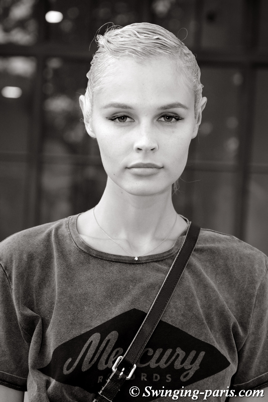 Tanya Kozhemyakina leaving Armani Privé show, Paris F/W 2019 Haute Couture Fashion Week, July 2019