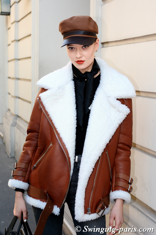 Alicja Tubilewicz leaving Alexis Mabille show, Paris Haute Couture SS 2020 Fashion Week, January 2020