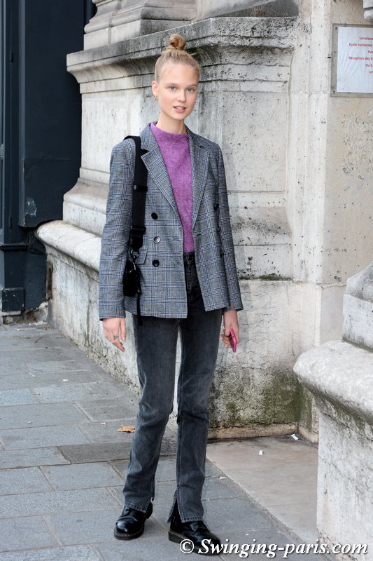 Alina Egorova (Алина Егорова) outside Beautiful People show, Paris S/S 2020 RtW Fashion Week, September 2019