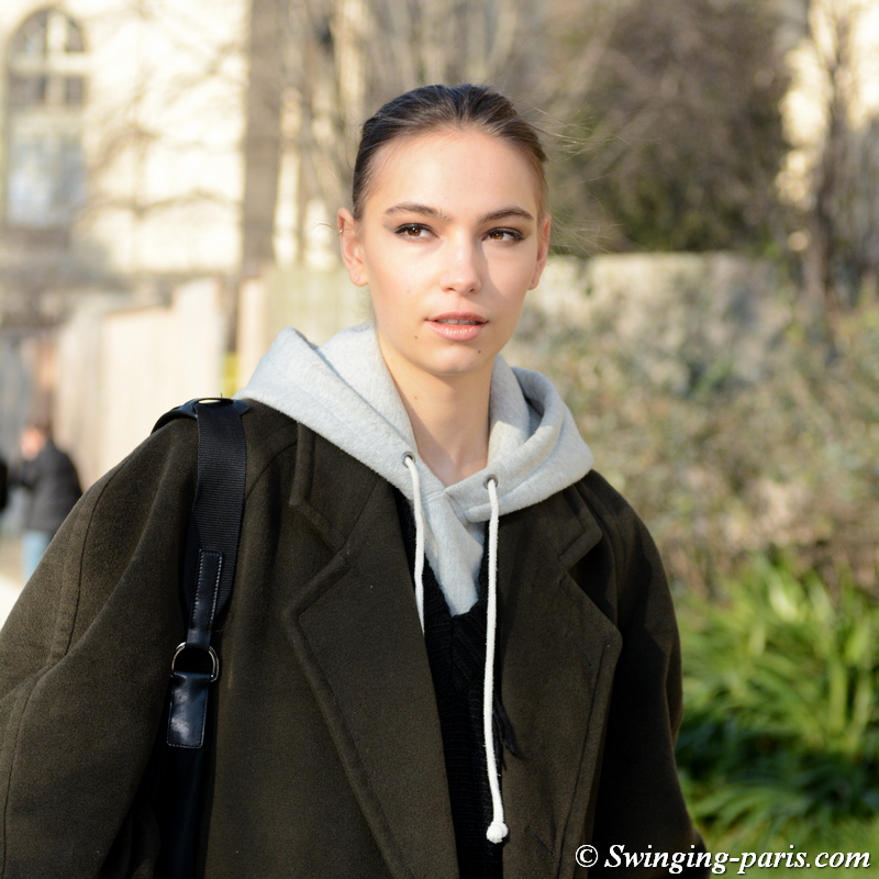 Josephine Adam leaving Elie Saab show, Paris SS 2020 Haute Couture Fashion Week, January 2020