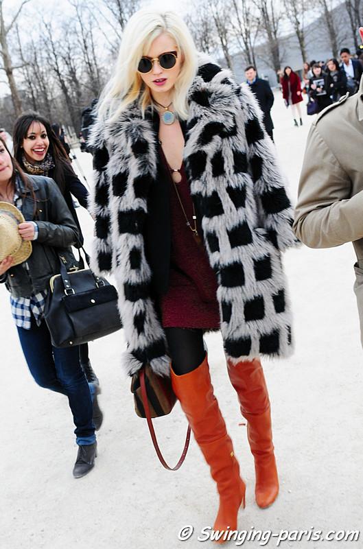 Abbey Lee Kershaw leaving Elie Saab show, Paris Fashion Week, March 2011