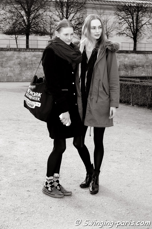 Aine O'Gorman and Zazoe van Lieshout (right) outside Issey Miyake show, Paris F/W 2014 RtW Fashion Week, February 2014