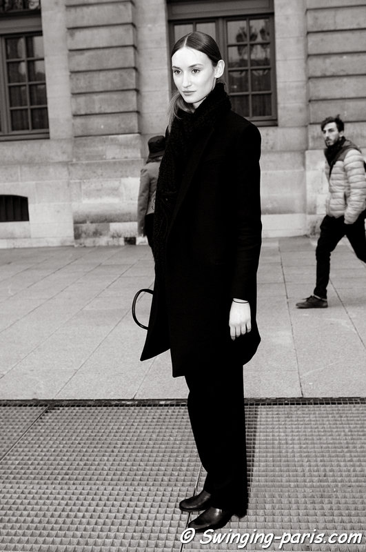Alex Yuryeva outside Felipe Oliveira Baptista show, Paris F/W 2013 RtW Fashion Week, February 2013