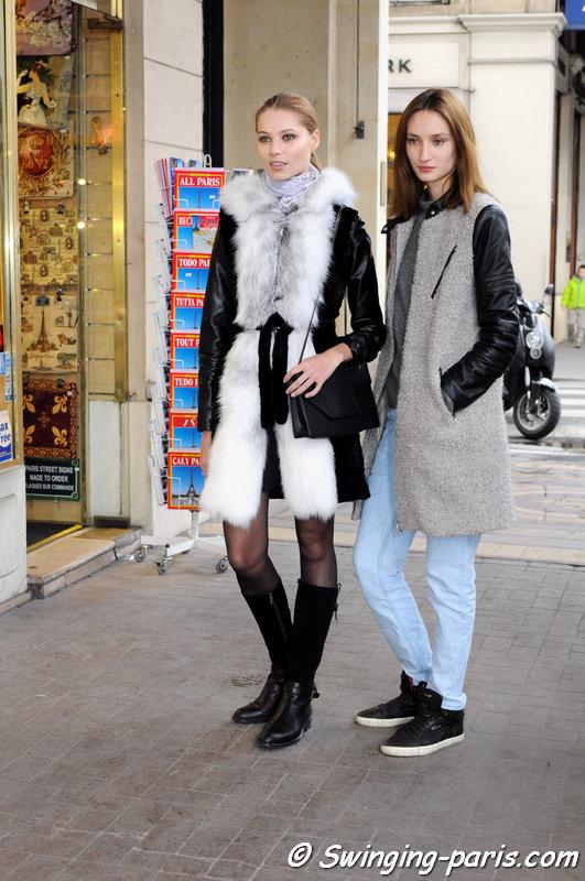 Alex Yuryeva and Vika Falileeva (Вика Фалилеева) outside Valentin Yudashkin show, Paris F/W 2014 RtW Fashion Week, March 2014