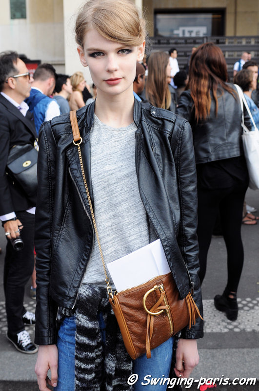 Alexandra Elizabeth Ljadov outside Giorgio Armani Privé show, Paris Haute Couture F/W 2014 Fashion Week, July 2014