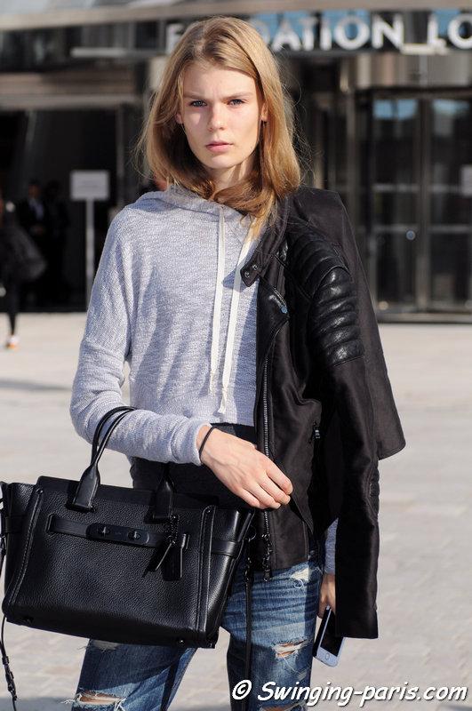 Alexandra Elizabeth Ljadov outside Louis Vuitton show, Paris S/S 2015 RtW Fashion Week, October 2014