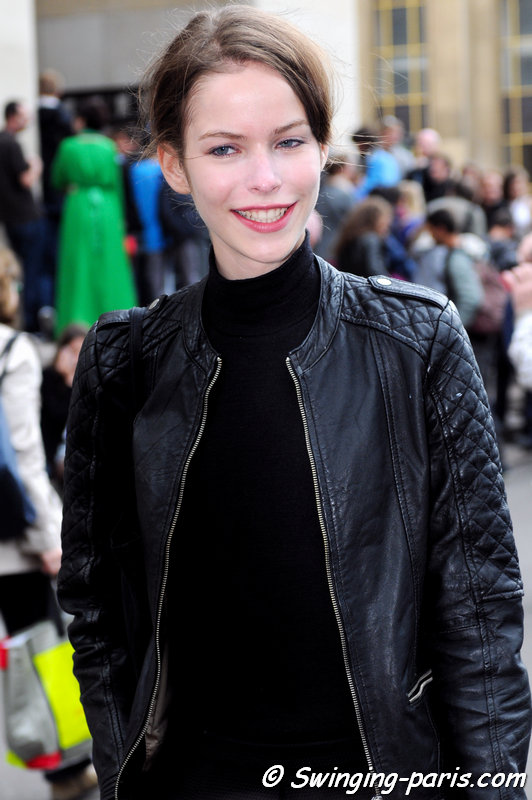 Alexandra Hochguertel outside Giorgio Armani Privé show, Paris Haute Couture F/W 2014 Fashion Week, July 2014