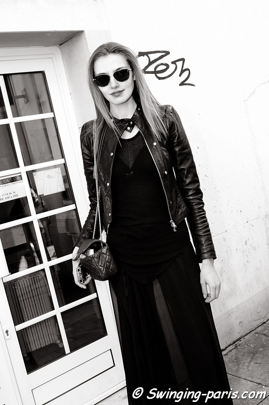 Alina Baikova (Алина Байкова) outside Ann Demeulemeester show, Paris Fashion Week, March 2011