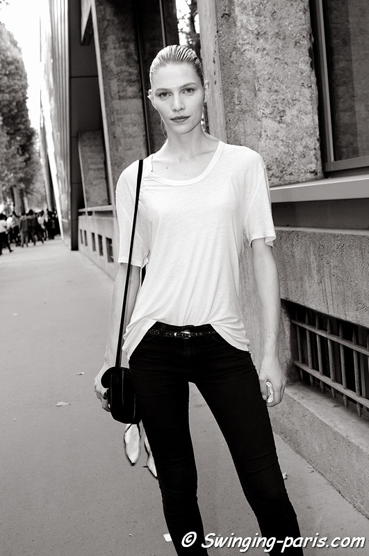 Aline Weber leaving Anthony Vaccarello show, Paris S/S 2012 Fashion Week, September 2011