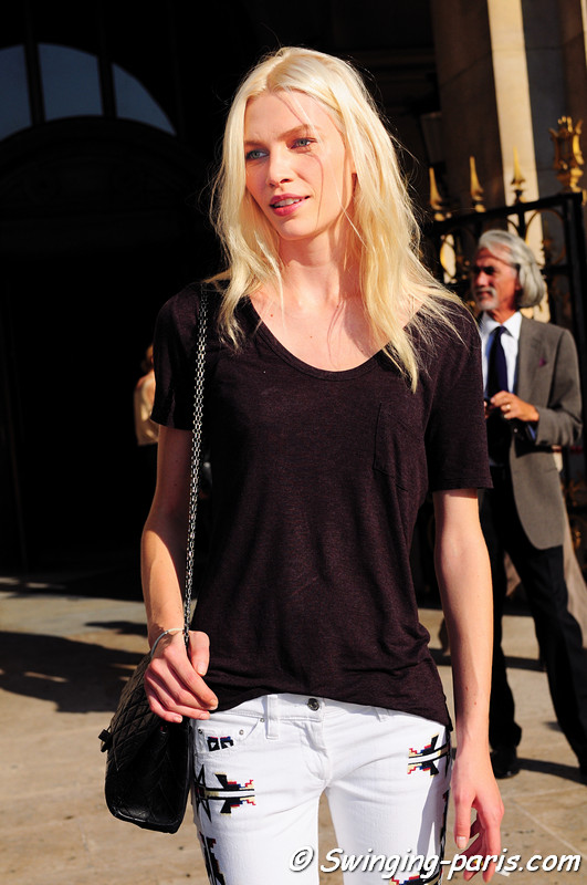 Aline Weber leaving Stella McCartney show, Paris S/S 2012 Fashion Week, October 2011