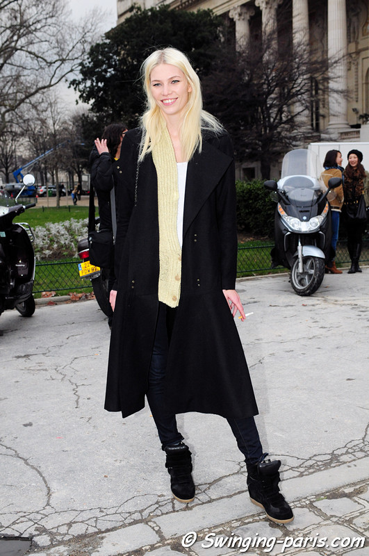 Aline Weber outside Paco Rabanne show, Paris F/W RtW 2012 Fashion Week, March 2012