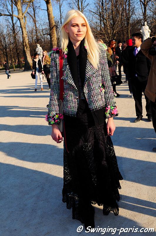 Aline Weber leaving Chloé show, Paris Fashion Week, March 2011