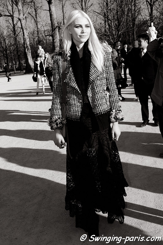 Aline Weber leaving Chloé show, Paris Fashion Week, March 2011