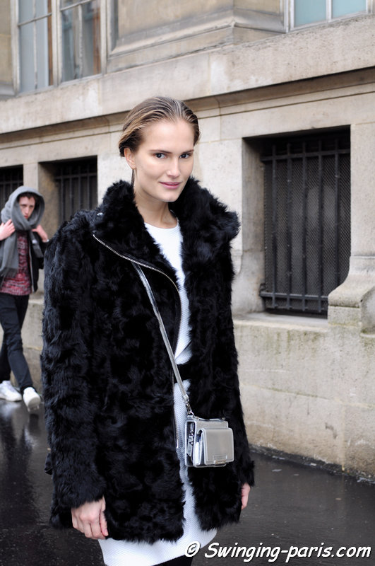 Alla Kostromicheva leaving Ann Demeulemeester show, Paris F/W 2014 RtW Fashion Week, February 2014