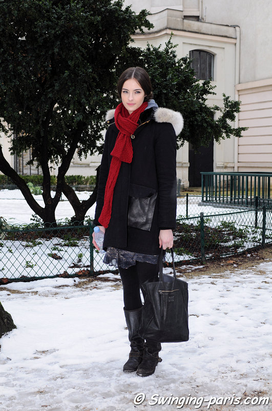 Allaire Heisig after Ulyana Sergeenko show, Paris Haute Couture S/S 2013 Fashion Week, January 2013