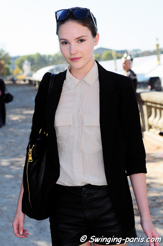 Amanda Ware after Lonard show, Paris S/S 2012 Fashion Week, October 2011