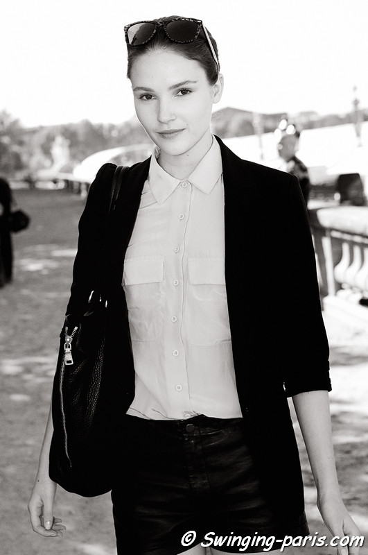 Amanda Ware after Léonard show, Paris S/S 2012 Fashion Week, October 2011