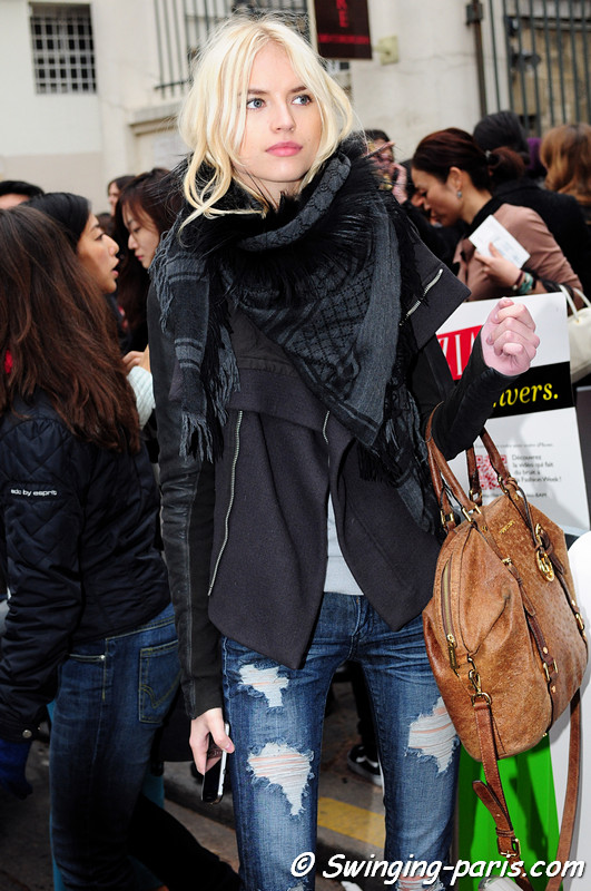 Anabela Belikova (Анабела Беликова) leaving Isabel Marant show, Paris F/W RtW 2012 Fashion Week, March 2012