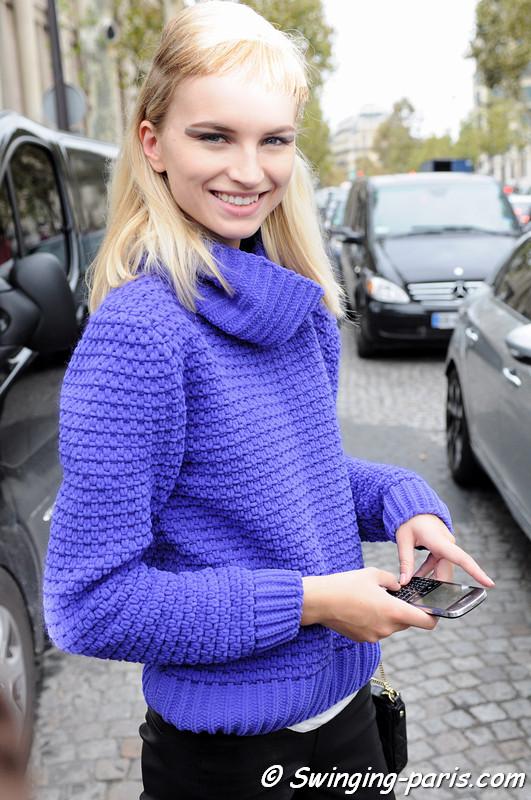 Anabela Belikova (Анабела Беликова) leaving Miu Miu show, Paris S/S 2013 RtW Fashion Week, October 2012