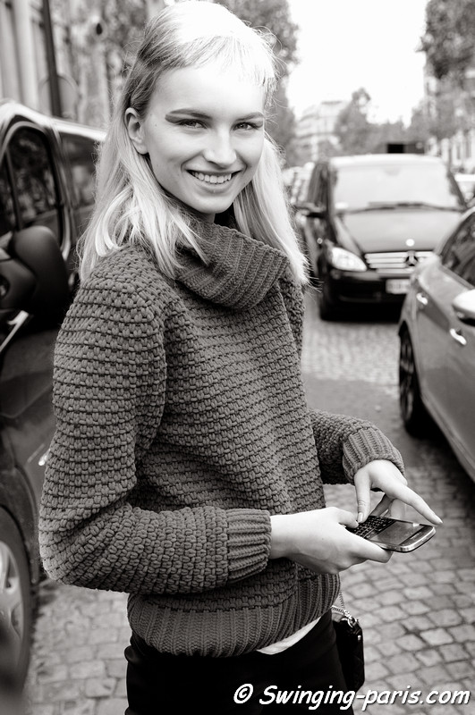 Anabela Belikova (Анабела Беликова) leaving Miu Miu show, Paris S/S 2013 RtW Fashion Week, October 2012