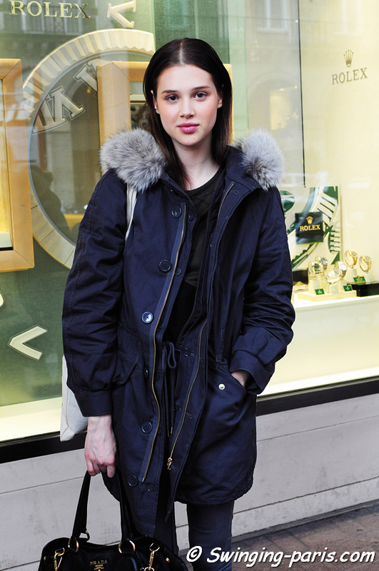 Anais Pouliot outside Valentin Yudashkin show, Paris F/W RtW 2012 Fashion Week, March 2012