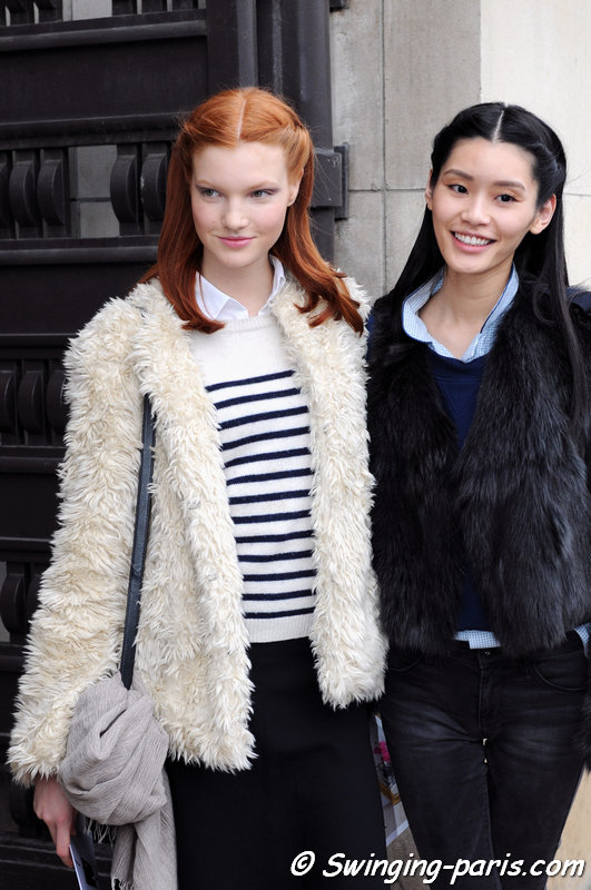 "Anastasia Ivanova (Анастасия Иванова) and Mengyao ""Ming"" Xi leaving Elie Saab show, Paris Haute Couture S/S 2014 Fashion Week, January 2014"