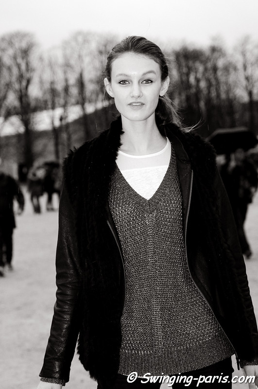 Andie Arthur leaving John Galliano show, Paris F/W RtW 2012 Fashion Week, March 2012