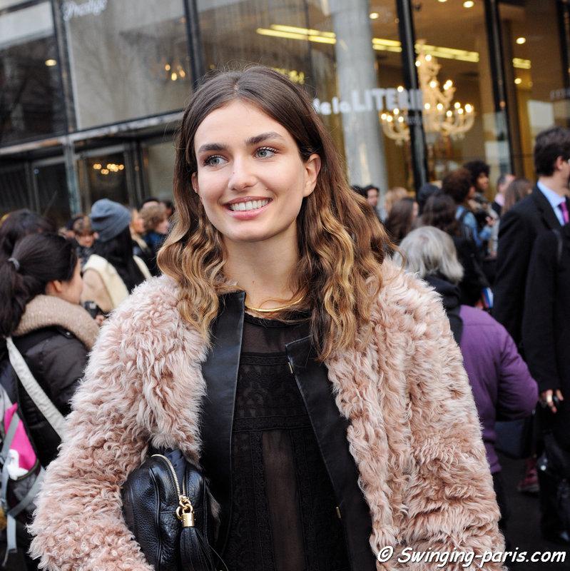 Andreea Diaconu leaving Sonia Rykiel show, Paris F/W 2014 RtW Fashion Week, February 2014