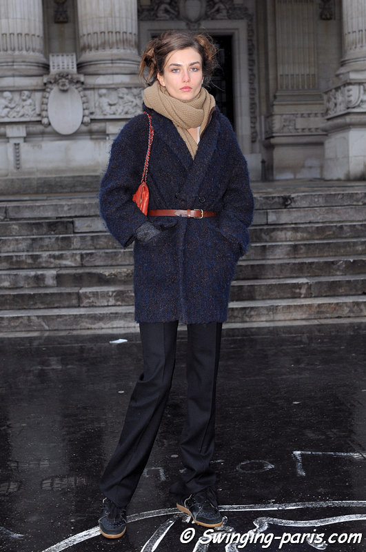 Andreea Diaconu exiting Chanel show, Paris Haute Couture S/S 2013 Fashion Week, January 2013