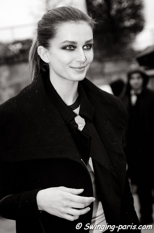 Andreea Diaconu leaving John Galliano show, Paris F/W RtW 2012 Fashion Week, March 2012
